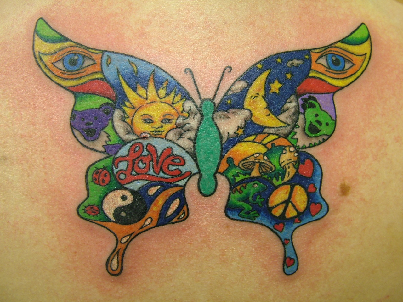 Hippie Butterfly Tattoo